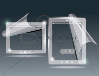 touchscreen tablet with a transparent buttons.