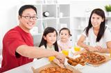 happy asian Family enjoy their dinner