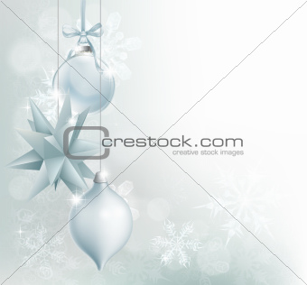 Silver blue snowflake Christmas bauble background