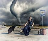 woman and tornado