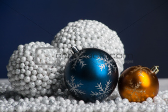 Christmas decoration toys on snow