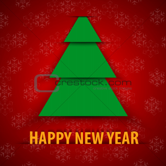 Green paper Christmas tree on red background