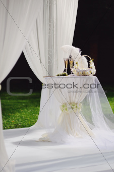 wedding arrangement in garden