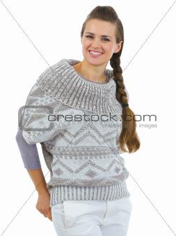 Portrait of happy woman in sweater