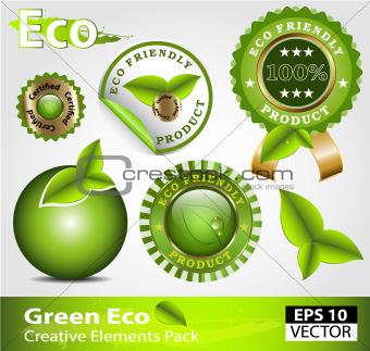 Green ecofriendly design elements
