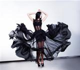 Fantastic fashion woman in fluttering black transparent dress