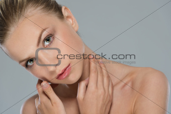 Beauty portrait of young woman girl isolated