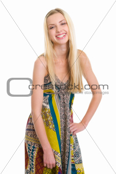 Portrait of laughing young woman isolated on white