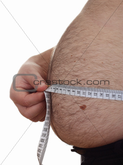 Fat man holding measure tape