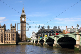 Big Ben and Westminster bridge, London