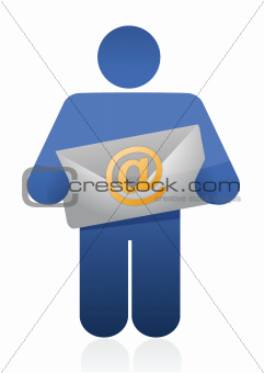 icon holding an email envelope