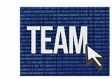team and cursor binary blue