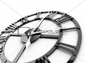 old dark metallic clock on a white background