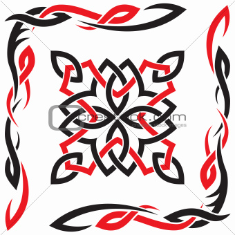 Celtic vector black and red ornament for design