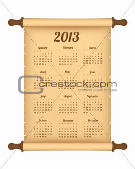 2013 calendar on parchment roll