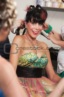 Excited Woman in Salon