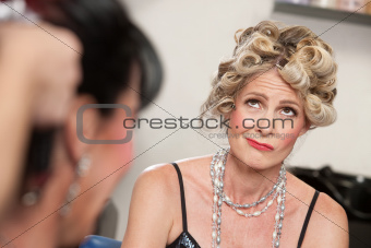 Frowning Lady in Salon