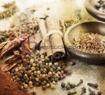 Grunge Image Of Spices