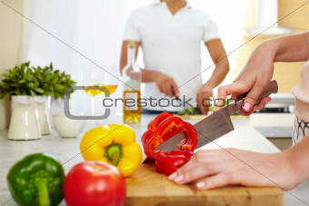Cutting pepper