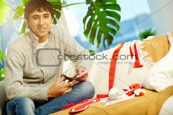 Man making valentine heart