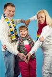 Family in winterwear