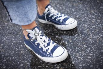 Blue Sneakers in the Rain