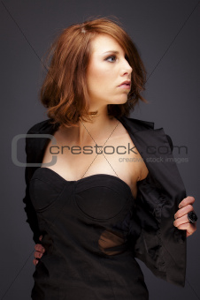 Beauty studio portrait of sensual young woman