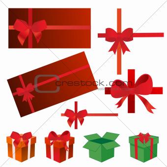 bows, gift boxes, ribbons vector illustration