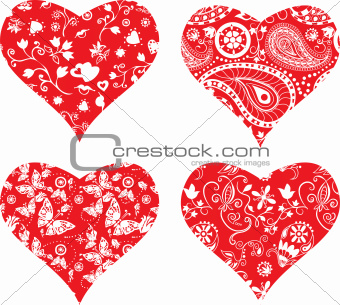 Four heart silhouettes