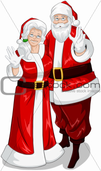 Santa And Mrs Claus Waving Hands For Christmas