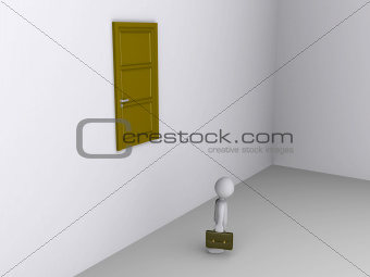 Businessman can not reach door to exit