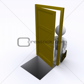 Businessman is opening a door with risk