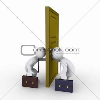 Businessmen trying to find success by looking through keyhole