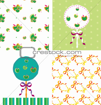 Apple tree card seamless