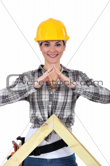 Portrait of smiling woman carpenter
