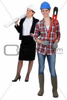 Female architect and construction worker