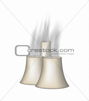 Three chimneys with smoke