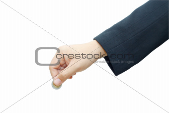 Male hand with coin