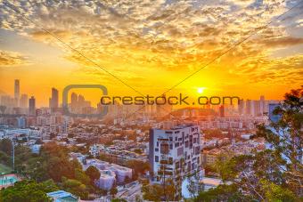Hong Kong modern city at sunset