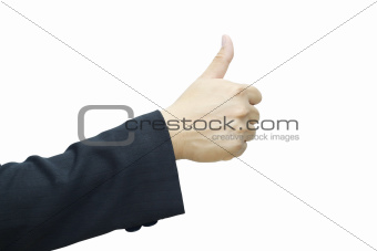 Business man 's hand with thumb up
