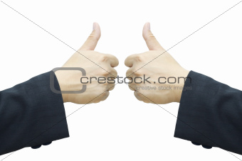 Business man 's hand ,two thumb up