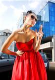 smoking lady in red dress