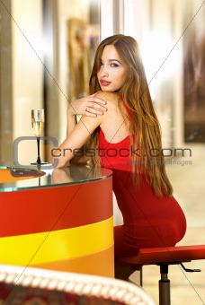 single woman in a bar