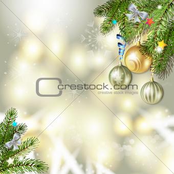 Christmas balls and pine tree