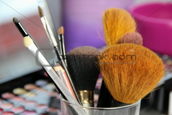 Big set of make-up brushes 