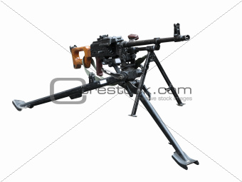 Old soviet army machine gun isolated on white