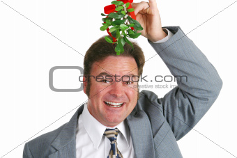 Hopeful Guy Under Mistletoe