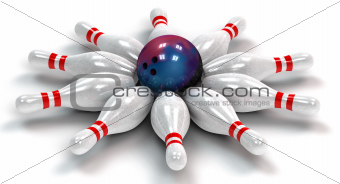 Ten Bowling Pins Down Around a Bowling Ball