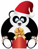 Panda Sitting with Santa Hat Opening Present