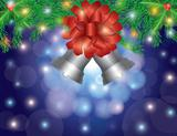 Christmas Silver Bells with Bow On Garland Illustration